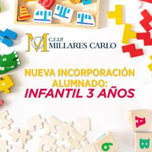 Nueva incorporación de alumnado de infantil 3 años